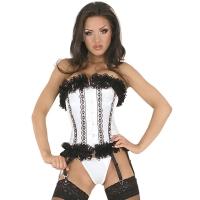 ledapol 3126 satin overbust corset - fabric full chest corset