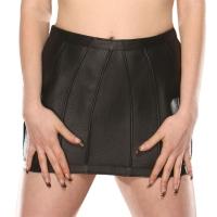 ledapol 5471 læder mini nederdel - dame korte nederdele