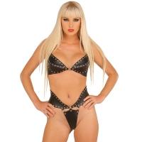 ledapol 5512 + 5513 læder brystholder + slip - 2 stk. som sæt - sexet lingeri