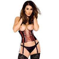ledapol 5809 læder korsetter med åbne bryster