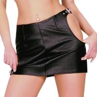 ledapol 5826 læder mini nederdel - dame korte nederdele