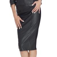 ledapol 5857 læder mini nederdel - dame korte nederdele